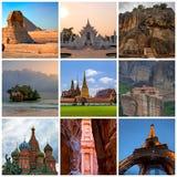 与各种各样的旅行照片的拼贴画 免版税库存照片