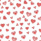 与各种各样的红色和白色心脏的无缝的样式 库存照片