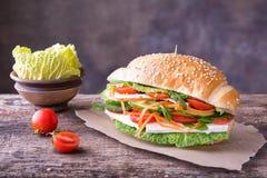 与各种各样的菜和乳酪的可口五颜六色的三明治 免版税图库摄影
