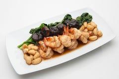 与各种各样的菜的油煎的虾 免版税图库摄影