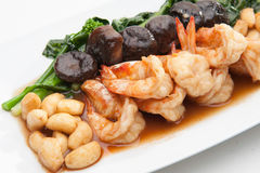 与各种各样的菜的虾 库存图片
