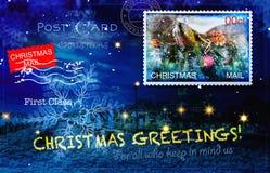 与各种各样的邮票的圣诞卡 免版税库存图片
