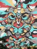 与各种各样的颜色和设计的壁画 Ponta Delgada,亚速尔群岛,葡萄牙 免版税库存图片