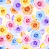 与各种各样的颜色玫瑰的无缝的样式。 免版税图库摄影
