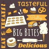 与各种各样的食物和饮料乱画的餐馆背景 向量例证