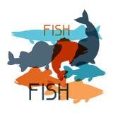 与各种各样的鱼的背景 给的小册子、横幅、flayers、文章和社会媒介做广告图象 库存图片