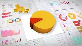 10%与各种各样的经济财务图表的圆形统计图表 (没有文本) 向量例证