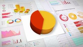 40%与各种各样的经济财务图表的圆形统计图表 (没有文本) 库存例证