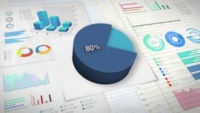 80%与各种各样的经济财务图表的圆形统计图表 向量例证
