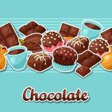 与各种各样鲜美的巧克力无缝的样式 库存例证