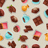 与各种各样鲜美的巧克力无缝的样式 向量例证