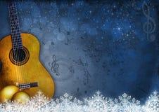 与吉他的新年和音乐背景 免版税图库摄影