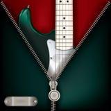 与吉他和开放拉链的抽象音乐绿色背景 免版税图库摄影
