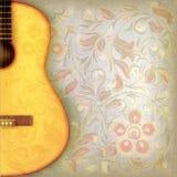 与吉他和f的抽象难看的东西音乐背景 库存照片