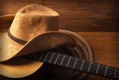 与吉他的乡村音乐背景 免版税图库摄影