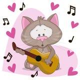 与吉他的猫 免版税库存照片