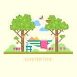 与吊床的夏天风景 向量例证