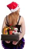 与后边圣诞节礼物的白种人圣诞老人 免版税库存照片