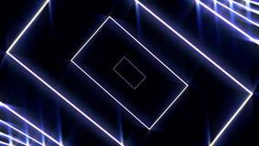 与后退霓虹蓝色的长方形的抽象数字样式,无缝的圈 o 快速地几何图 皇族释放例证