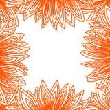 与向日葵瓣等高的边界框架 免版税图库摄影