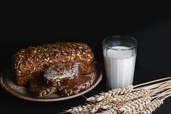 与向日葵种子的黑暗的谷物面包,杯牛奶,麦子在一个黑暗的背景页岩板,健康吃, p的概念剥落 库存照片