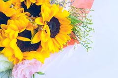 与向日葵花束的背景 复制文本的空间 免版税图库摄影