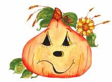 与向日葵水彩的微笑的南瓜 免版税库存照片