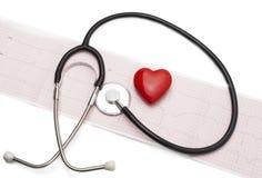 与听诊器和红色心脏的心电图 库存图片