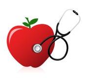与听诊器的健康食物概念 皇族释放例证