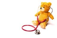 与听诊器的玩具熊 免版税库存照片