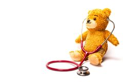 与听诊器的玩具熊 免版税库存图片