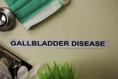 与启发的胆囊疾病和医疗保健/医疗概念在书桌背景 库存图片