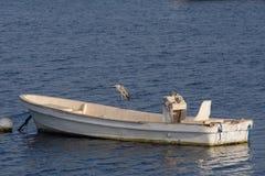 与吸收在大海的一条土气看的小船的平衡的日落光芒 库存照片