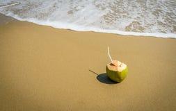 与吸管的椰子在沙子 免版税库存图片