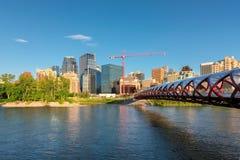 与和平桥梁,加拿大的卡尔加里都市风景 免版税库存图片