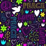 与和平的标志的霓虹手拉的无缝的样式 库存图片
