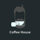 与咖啡人的商标 免版税图库摄影
