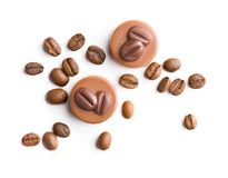 与咖啡味道的比利时果仁糖 免版税库存照片