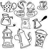 与咖啡和茶材料的拉长的图片 免版税库存图片