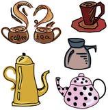 与咖啡和茶材料的色的被画的图片 免版税库存照片