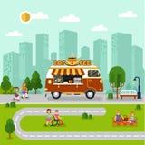 与咖啡搬运车的城市风景 库存图片
