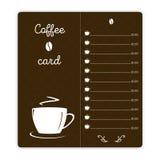 与咖啡杯的咖啡卡片在棕色背景 免版税库存图片