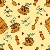 与咖啡杯的咖啡时间无缝的背景 也corel凹道例证向量 免版税库存图片