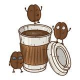 与咖啡杯的咖啡豆字符 动画片跳舞咖啡豆 免版税库存照片