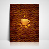 与咖啡标志的菜单设计 免版税库存图片