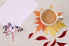 与咖啡的秋天构成、秋叶和和被打开的书开放书与空白页 顶视图,平的位置,拷贝spac 库存图片