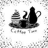 与咖啡罐和杯形蛋糕的咖啡时间 免版税库存图片