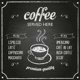 与咖啡菜单的减速火箭的标志 免版税库存照片