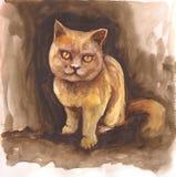 与咖啡褐色颜色的水彩猫 刷子绘画 皇族释放例证