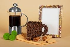 与咖啡辅助部件的框架 图库摄影